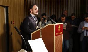 Espot en un moment de l'acte de jurament dels ministres i altres càrrecs del Govern, ahir a l'Auditori Nacional.