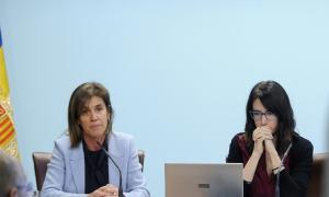 La ministra Ester Vilarruba i la directora de l'AQUA, Marta Fonolleda, en la roda de premsa d'ahir.