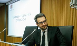 El ministre d'Educació i Ensenyament Superior, Èric Jover, en la compareixença d'ahir davant la comissió legislativa d'Educació.