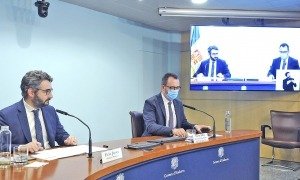 El titular d'Afers Socials, Habitatge i Joventut, Víctor Filloy, va acompanyar en la compareixença d'ahir el ministre portaveu, Eric Jover.