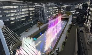 Projecció de la font de llums de colors que preveu el projecte guanyador del concurs de remodelació de la Rotonda.