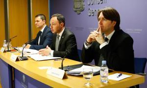 Jordi Gallardo, Xavier Espot i Carles Naudi van presentar ahir l'acord i el full de ruta del Govern de coalició.