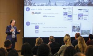 El gerent d'Andorra Turisme, Betim Budzaku, en la presentació de la campanya d'hivern que va tenir lloc ahir.