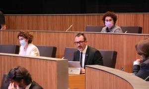 El ministre de Territori i Habitatge, Víctor Filloy, en una de les seves intervencions aquesta tarda al Consell General.
