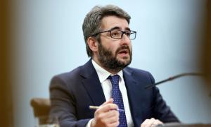 El ministre portaveu, Eric Jover, en la compareixença d'ahir al vespre.
