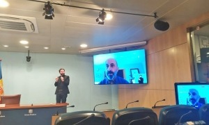 Un moment de la compareixença del titular de Salut, Joan Martínez Benazet.