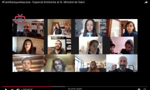 """Nou alumnes canillencs han actuat com a entrevistadors de """"Canillo es queda a casa""""."""