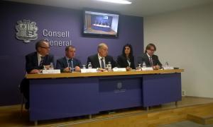 Els consellers generals d'UL-ILM en la compareixença d'ahir.