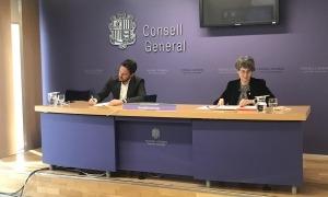 Els consellers socialdemòcrates Pere López i Susanna Vela en la compareixença d'ahir al Consell General.