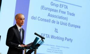 El cap de Govern, Antoni Martí, va ser l'encarregat de donar la benvinguda als representants del grup EFTA.