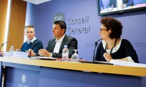 Ferran Costa, Jordi Gallardo i Judith Pallarés van presentar ahir les esmenes liberals a la proposició de llei de relacions laborals.