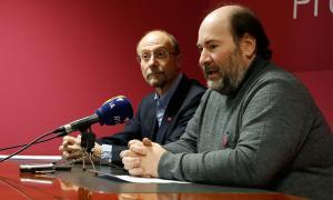 El conseller general d'SDP, Víctor Naudi, i el secretari d'organització de la formació, Joan Marc Miralles, en una compareixença anterior.
