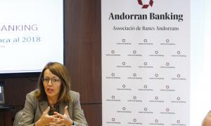 La directora general d'Andorran Banking, Esther Puigcercós, va presentar ahir els resultats de l'exercici 2018 del sector.