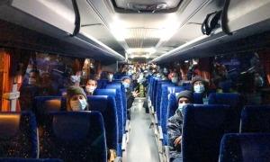 Els argentins en un dels busos que els va portar fins a França dijous passat.