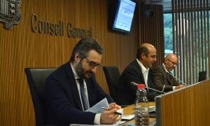 El ministre de Finances, Eric Jover, durant la compareixença al davant de la comissió.