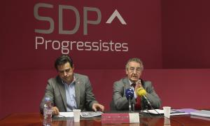 L'integrant de la comissió política nacional de SDP David Pérez i el president de la formació, Jaume Bartumeu, en una imatge d'arxiu.