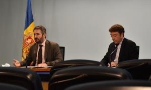 El ministre de Finances, Eric Jover, i el director de Tributs i Fronteres, Albert Hinojosa, han repassat les dades de l'IS i l'IRPF.