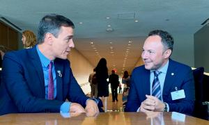 Sánchez i Espot durant la trobada a la seu de les Nacions Unides, ahir.