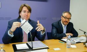 Els consellers generals massanencs independents Carles Naudi i Joan Carles Camp, en la compareixença d'ahir.