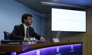 El titular de Finances, Jordi Cinca, en la presentació dels comptes per a l'exercici 2018.