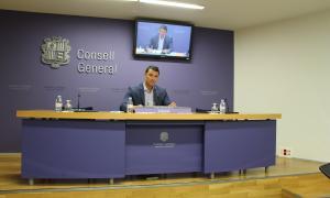 Jordi Gallardo en roda de premsa al Consell General.