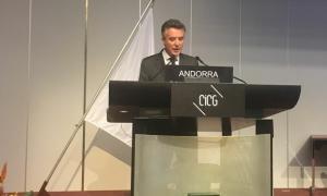 El síndic general, Vicenç Mateu, en un moment del seu discurs a l'Assemblea de la Unió Interparlamentària.