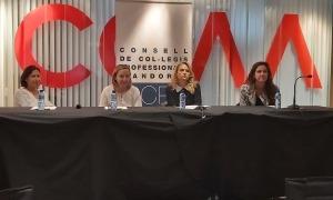 Natàlia Rossa, Neus Cornella, Sophie Bellocq i Zaira Nadal en la compareixença d'aaquest matí.