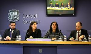 Els consellers generals de DA Marc Ballestà, Maria Martisella, Sofia Garrallà i Carles Jordana durant la compareixença d'ahir.