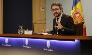 El portaveu de l'executiu, Eric Jover, durant la compareixença posterior al consell de ministres d'ahir.