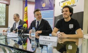 Oriol Servera, president del FNJ, amb Marc Pons i Agustí Pifarré.