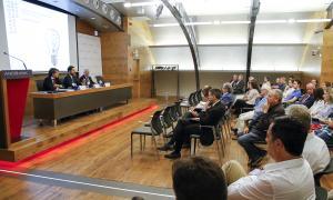 Un moment de la conferència d'ahir a la sala d'actes d'Andbank.