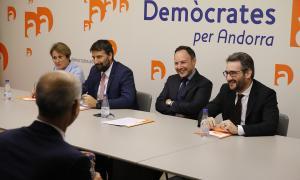 Un moment de l'executiva extraordinària de Demòcrates per Andorra en la qual Xavier Espot va oficialitzar el 'sí' a liderar el projecte.