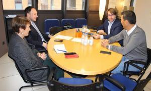 Un moment de la reunió d'ahir entre Xavier Espot i Roser Suñé i els consellers electes de CC, Carles Naudi i Raül Ferré.