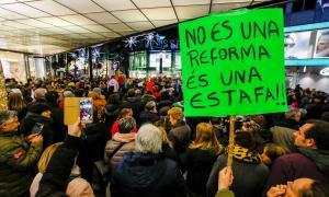 Un moment de la protesta pels drets fonamentals i contra les retallades laborals que va tenir lloc al mes de desembre.