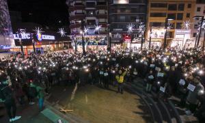 Un moment de la protesta de dimecres pels drets socials i laborals.
