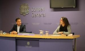 Pere López i Judith Salazar durant la seva compareixença al Consell General.