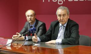El conseller general d'SDP, Víctor Naudi, i el president de la formació, Jaume Bartumeu, en la compareixença d'ahir.