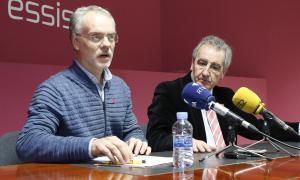 Roig i Bartumeu durant la roda de premsa celebrada ahir.