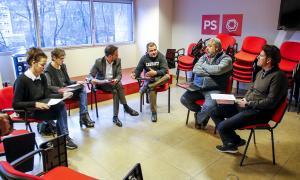 Un moment de la reunió dels candidats del PS amb els representants de SEP i Sipaag.