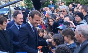 Macron amb Espot i Suñé durant la seva visita al país el setembre del 2019.