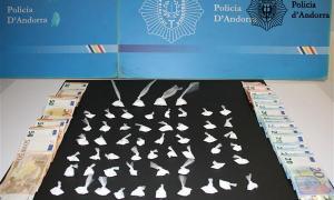 La cocaïna i els diners trobats al domicili de l'acusat, la matinada del 7 d'abril passat.