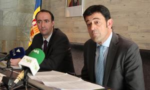 David Baró i Josep Àngel Mortés en un acte conjunt.