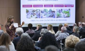 Un moment de la presentació pública del Pla de millora del centre històric d'ahir al Centre de Congressos.