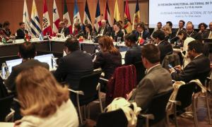 Un moment de la primera jornada de la Reunió iberoamericana de ministres de Turisme ahir al Centre de Congressos de la capital.