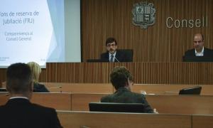 El president de la comissió gestora del Fons de reserva de jubilació, Jordi Cinca, en una compareixença al Consell General.