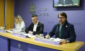 Eva López, Joan Carles Ramos i Carles Naudi van presentar ahir les modificacions a la Llei qualificada de seguretat pública.