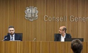 El ministre de Finances, Eric Jover, durant la seva compareixença a la comissió de Finances i Pressupost el juliol passat.