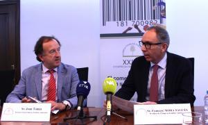 El secretari tècnic de l'entitat, Joan Tomàs, i el president, Francesc Mora, en la presentació del 21è cicle de l'EFA.