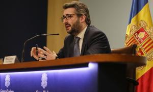 El ministre de Finances i portaveu de l'executiu, Eric Jover, durant la compareixença posterior al consell de ministres d'ahir.
