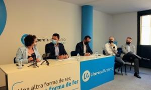 Els ministres Pallarés, Gallardo i Filloy, acompanyats de Gerard Estrella i Ferran Costa durant la roda de premsa d'avui.